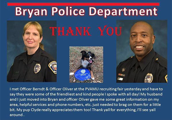 Thank You, Bryan Police and Fire Departments