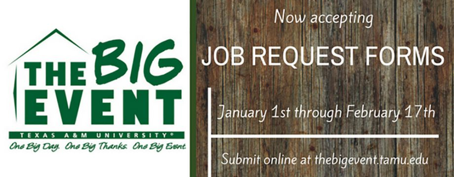 The Big Event, Now Accepting Job Request Forms
