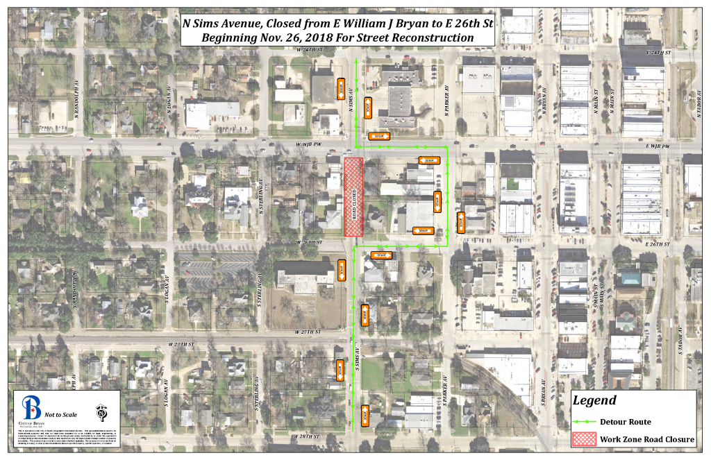 Work Zone Map W 26th St - Sims Ave Closure 20181128